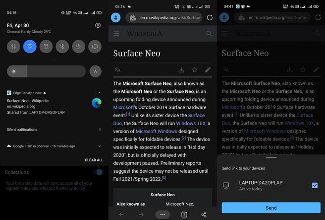 Microsoft Edge Android sharing tab